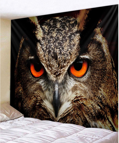 Fabric Wall Tapestry/Throw Stunning Owl 71 x 91 inches