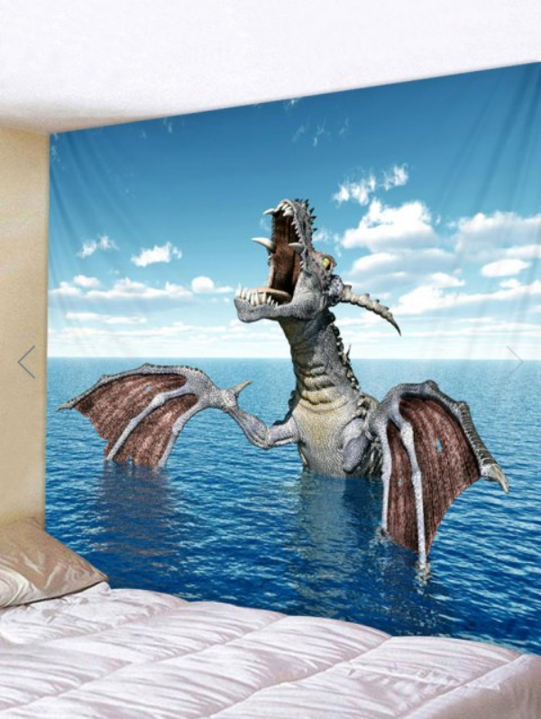 Fabric Wall Tapestry/Throw Dragon and Sea 91 x 71 Inches