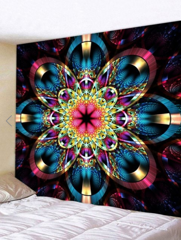 Fabric Wall Tapestry/Throw Flower Mandala 59 x 51 Inches