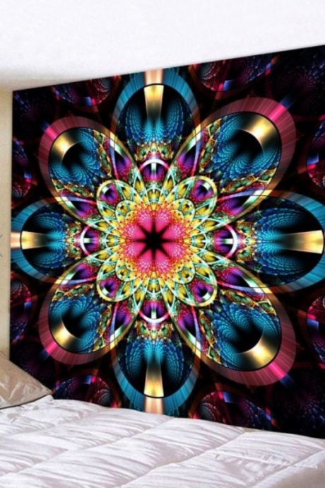 Fabric Wall Tapestry/Throw Flower Mandala 91 x 71 Inches