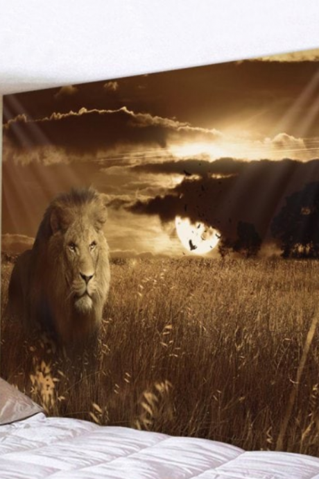 Fabric Wall Tapestry/Throw Sunset Lion 59 x 51 Inches