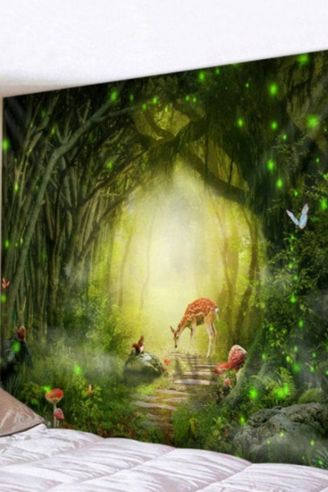 Fabric Wall Tapestry/Throw Forest Path Deer and Butterflies 59 x 59 Inches
