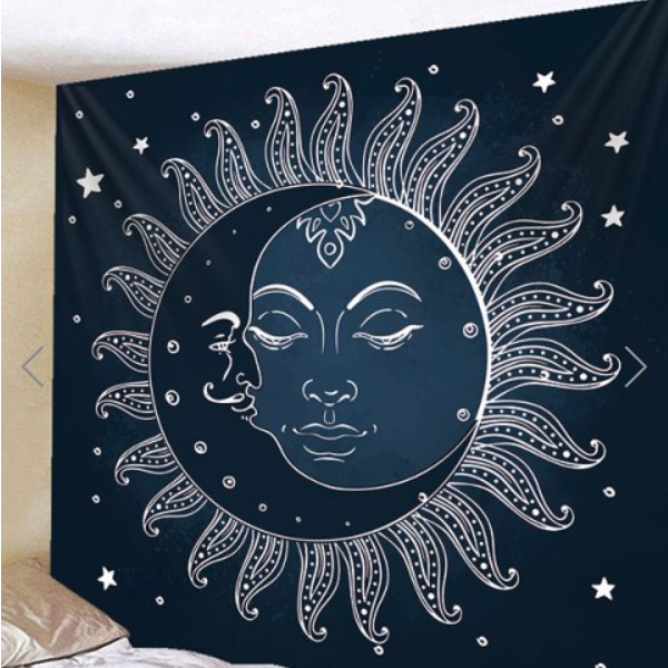 Fabric Wall Tapestry/Throw Sun and Moon Mandala 91 X 71 Inches