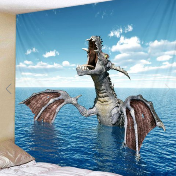 Fabric Wall Tapestry/Throw Dragon and Sea 59 x 59 inches