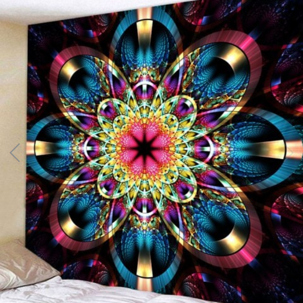 Fabric Wall Tapestry/Throw Flower Mandala 59 x 59 Inches